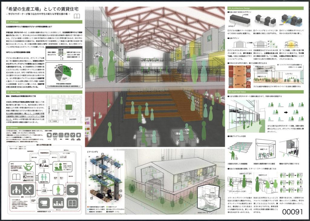 No. 00091 「希望の生産工場」としての賃貸住宅 - 学びのサポーターが集う仙台市中学生の新たな学習支援の場 - 小林誠(関・空間設計)